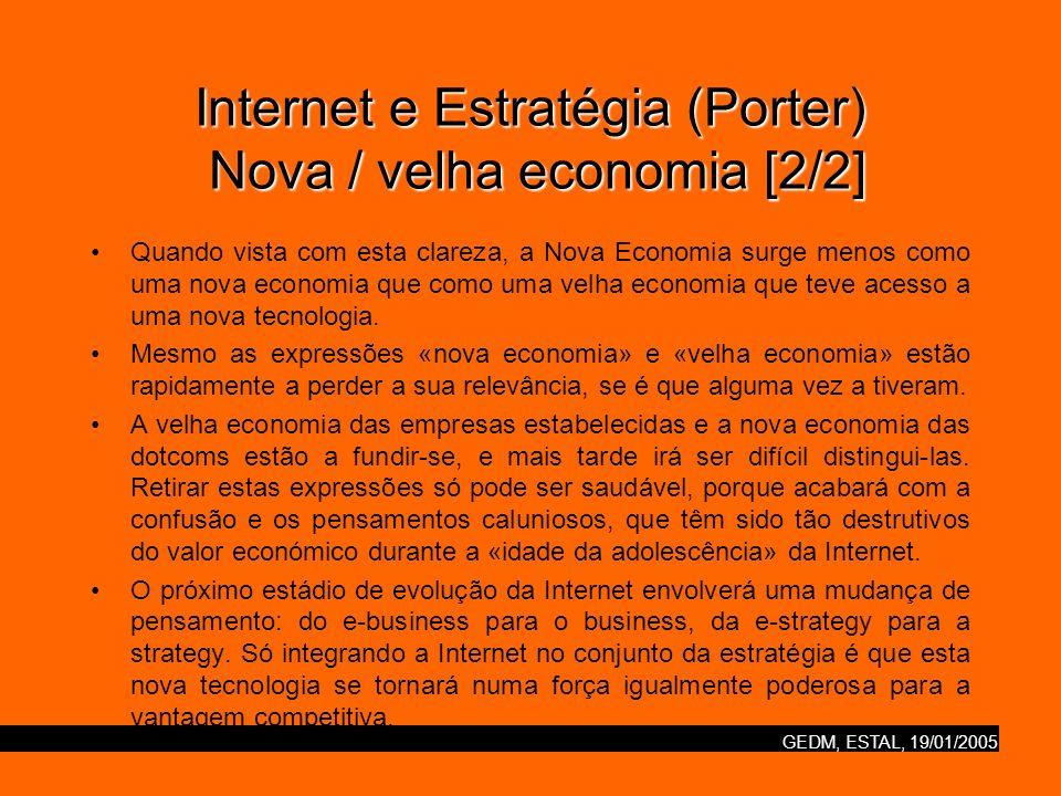 Internet e Estratégia (Porter) Nova / velha economia [2/2]